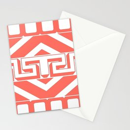 GEOMETRIC PATTERN IN LIVING CORAL Stationery Cards