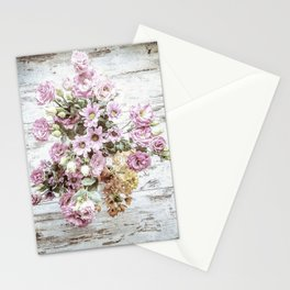 Chic Bouquet on Shabby Floor Stationery Cards