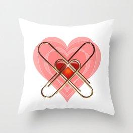Clip Heart Valentine Throw Pillow