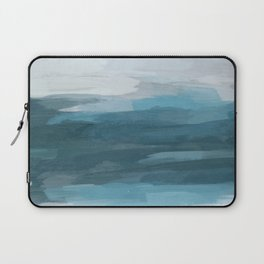 Teal Ocean Blue Gray Abstract Nature Art Painting Laptop Sleeve