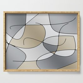 ABSTRACT CURVES #1 (Grays & Beiges) Serving Tray