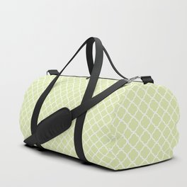 Modern pastel green white moroccan quatrefoil pattern Duffle Bag