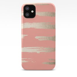 Simply Brushed Stripe in White Gold Sands on Salmon Pink iPhone Case