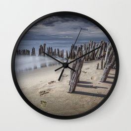 Footprints and Pilings on the Beach at Kirk Park by Grand Haven Michigan Wall Clock