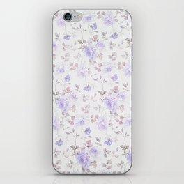 Lavender gray elegant vintage roses floral iPhone Skin