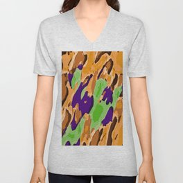 brown purple and green camouflage graffiti painting abstract background Unisex V-Neck