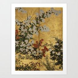 White Red Chrysanthemums Floral Japanese Gold Screen Art Print