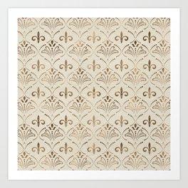 Elegant Fleur-de-lis pattern - pastel gold Art Print