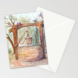 Water Well Watercolor Painting Stationery Cards