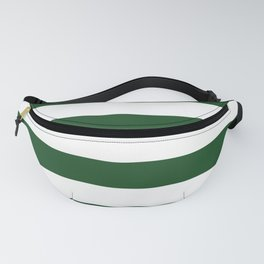 Jumbo Forest Green and White Rustic Horizontal Cabana Stripes Fanny Pack