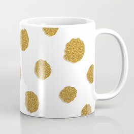 Golden touch III - Gold glitter effect polka dot pattern Coffee Mug