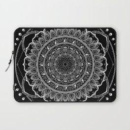 Black and White Geometric Mandala Laptop Sleeve