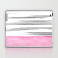 Stripes and pink watercolor Laptop & iPad Skin