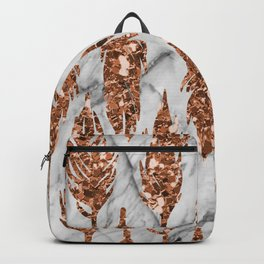 Rose gold art deco feather Backpack