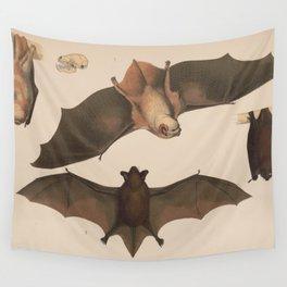 Vintage Flying Bat Illustration (1874) Wall Tapestry