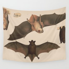 Vintage Flying Bat Illustration (1874) Wall Tapestry