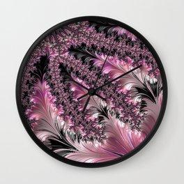 Funky Fun Elegant Feminine Girly Pink Black Trendy Stylish Feathers Delicate Intricate Fractal Art Wall Clock