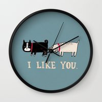 gemma correll Wall Clocks featuring I Like You. by gemma correll