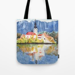 Church of the Assumption in Lake Bled Slovenia Tote Bag