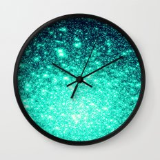 Stars Ombre Cool Aqua & Teal Wall Clock