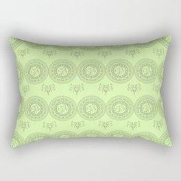 green boho pattern with mandalas and flowers Rectangular Pillow