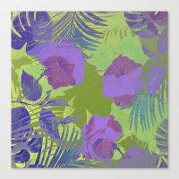 hawaiian Canvas Prints featuring Hawaiian Purple by ALLY COXON