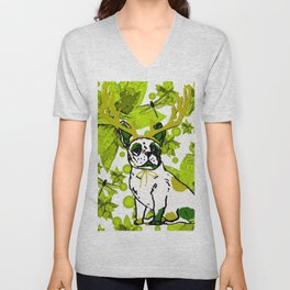 PUG POINSETTIA AND DRAGONFLIES Unisex V-Neck