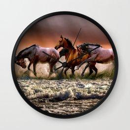 Animal Horses Fauna Wall Clock