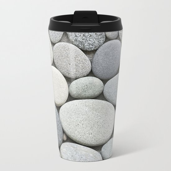 grey beige smooth pebble round stone collection Metal Travel Mug