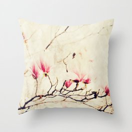 Spring Botanical - Tulip Tree, Magnolia × soulangeana Throw Pillow