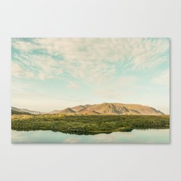 The lake by the mountains Canvas Print