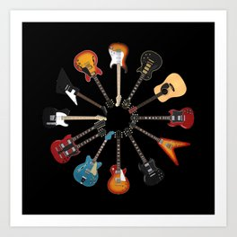 Guitar Circle Art Print