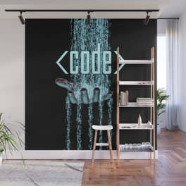 Code / 3D render of binary data flowing on to human hand Wall Mural