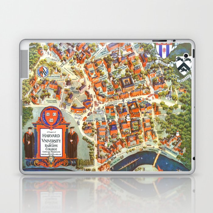 HARVARD University map MASSACHUSETTS Laptop & iPad Skin