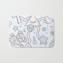 Cartoon Doodle All seeing eye. Background. Bath Mat