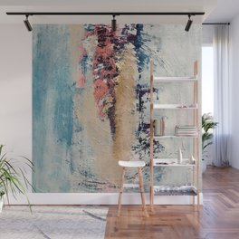 Artemis: A pretty, minimal, abstract mixed media piece in blue, gold, pink, purple, and white Wall Mural