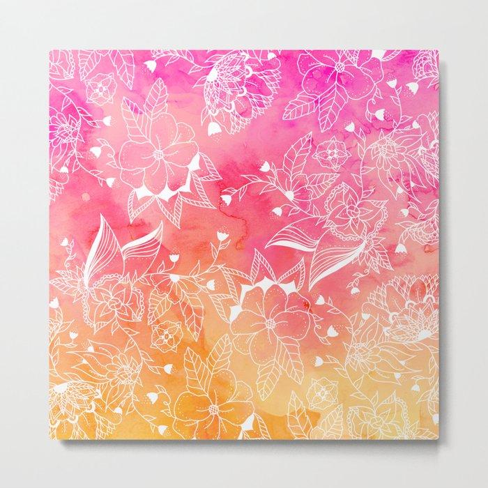 Modern summer pink orange sunset watercolor floral hand drawn illustration Metal Print