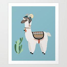 Alpaca & Cactus Art Print