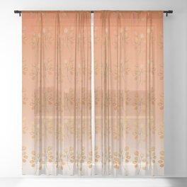 """Cactus flowers in soft orange"" Sheer Curtain"