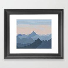 Pastel Sunset over Blue Mountains Framed Art Print