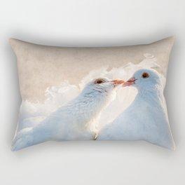 Kissing Dove Birds - Valentine's Day Theme Rectangular Pillow