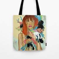 anxiety Tote Bags featuring Anxiety by Jane Lim illustration