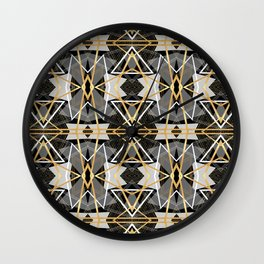 Gray and Gold Abstract Geometric Part II. Wall Clock