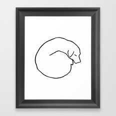 Curled Dog Framed Art Print