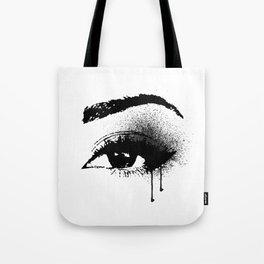 Black and White Eye makeup with paint drips Tote Bag