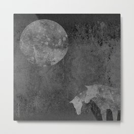 Moon with Horses in Grays Metal Print