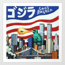 Godzilla saves America Art Print