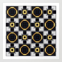 golden black grey geometrical pattern Art Print