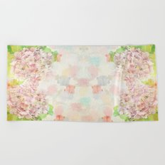 Pink Hydrangeas on a soft pastel abstract background Beach Towel