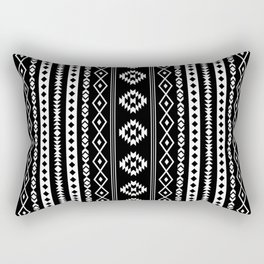 Aztec White on Black Mixed Motifs Pattern Rectangular Pillow